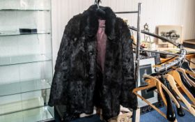 Vintage Ladies Black Mink Short Jacket. With Hook and Eye Fastening and Large Buttons to Collar.