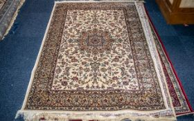 A Cashmere Ivory Ground Unique Medallion Design Rug measuring 1.70 by 1.20 m. As new condition.