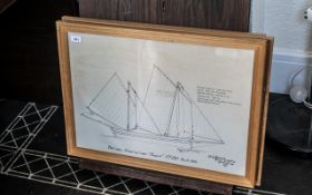 A Set of Three Framed Pen and Ink Drawings depicting of the Madagascar Lugger 'Margaret FY150
