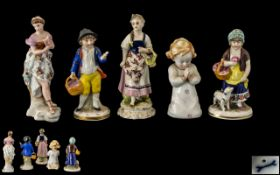 A Small Collection of 19th Century German Hand Painted Porcelain Small Figures ( 4 ) In Total.