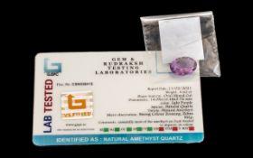 4.62 Ct Light Purple Natural Amethyst Quartz. GJSPC Certified.