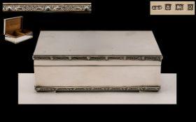 Elizabeth II Superb Sterling Silver Large Table Cigarette Box with Celtic Borders. Cedar Wood