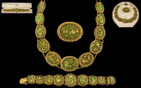 Extremely Fine And Impressive Indian Thewa High Carat Gold Antique Suite Of Marriage Jewellery, From