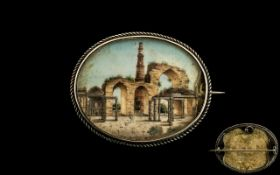 Antique Period - Nice Quality Colonial - Indian Hand Painted Oval Shaped Miniature Depicting a