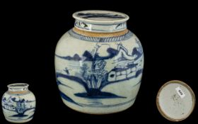 18th Century Blue and White Chinese Ginger Jar with decoration of village scenes and mountains; 6.
