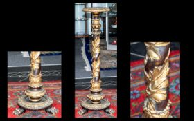 Gilt Lacquered Torchere carved column of Italian style, stepped circular base on three paw feet.