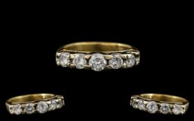 18ct Yellow Gold Superb Quality 5 Stone Diamond Ring. The Five Modern Brilliant Cut Round Diamonds