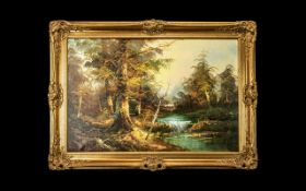 Oil Painting on Canvas depicting a river and forest scene; in gilt swept frame, with signature J
