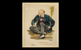David Low - Sir Winston Churchill 1933 Coloured Engraving original print caricature in clean