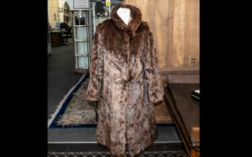 Dark Brown Vintage Mink Coat, full length, fully lined, two side pockets, button fastening, approx