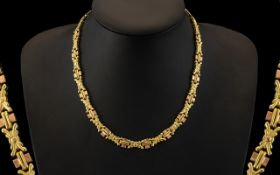 An Attractive and Superior Quality Two Tone 9ct Gold Fancy - Ornate Necklace / Chain. Excellent