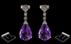 Ladies - Superb Pair of 18ct White Gold Amethyst and Diamond Set Earrings - Drops, Wonderful