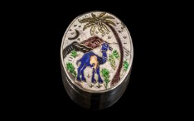 Silver Enamel Pill Box, the enamel decoration of a Middle Eastern scene; marked for silver
