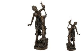 Reproduction Bronze of a Maiden Holding a Sprig of Flowers against a column support. 25'' high.