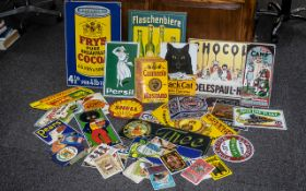 Box Containing Approximately Thirty Assorted Reproduction Tin Signs by Do Do Designs