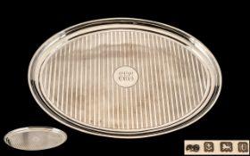George V Nice Quality Sterling Silver Oval Shaped Small Drinks / Card Tray, Regency Stripes