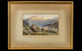 John Sowden Water Colour. John Sowden born 1838-1926. Water colour depicting large rock with