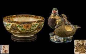 Satsuma Figure Group 'Mandarin Ducks', 8 inches (20cms) high x 7 inches (17.5cms) wide, plus a