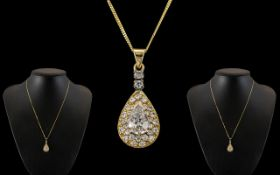 Ladies Superb 18ct Gold Pear Shaped Pendant Set with Diamonds of Exquisite Form / Quality with