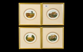 Four Stephen Whittle Limited Edition Miniature Etchings, mounted and framed behind glass,