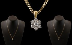 18ct Yellow Gold - Nice Quality Diamond Set Cluster Pendant / Drop - Attached to a 9ct Gold Chain.