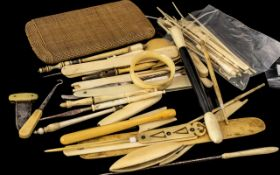 Large Collection of Antique Worked Ivory, to include page turner, button hooks, cut throat razor,
