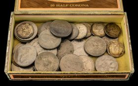 Box of Old Coins, lots of crowns, some USA coins, a good mixed lot: to sort