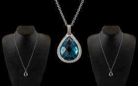 18ct White Gold - Excellent Quality Diamond and Aquamarine Set Pear Shaped Pendant - Attached to a