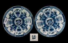 Pair of Chinese Blue & White Decorated Plates, with panels of flowers and figures, character marks