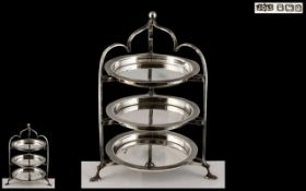 Edwardian Period Superb 3 Tier Sterling Silver Hors' D'Oeuvre Chocolate and Sweets - Dumb Waiter