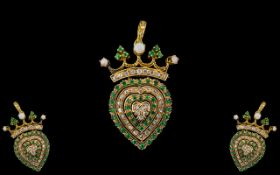 Antique Period Superb 18ct Gold Triple Heart Shaped Brooch - Pendant, Set with Diamonds, Emerald and