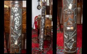 Split Bamboo Panel depicting figure with mother-of-pearl applied floral decoration. Slight damage.