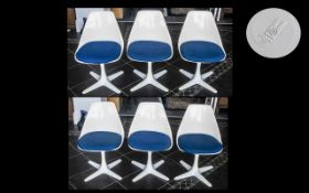 A Set of Six 1960's Plastic / Resin designer arkana model number 115 Swivel Chairs.