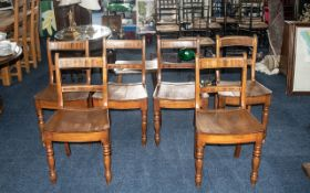 Six Beech & Elm Small Cottage Dining Chairs, with plank seats and turned supports. Height 33'',