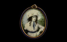 Fine Quality Painted Miniature on Ivory of an Elegant Young Lady wearing a flamboyant silk hat