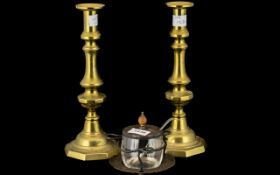 Pair of Victorian Brass Candlesticks, 12 inches (30cms) high, plus a silver plated preserve pot on