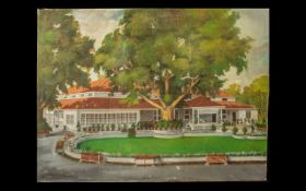 Indian Colonial Oil Painting on Canvas depicting an elegant bungalow set in a formal European
