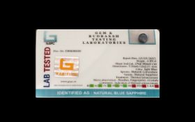 0.99 Ct Natural Blue Sapphire. GJSPC Certified