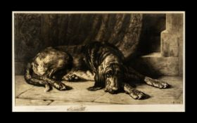 Herbert Dicksee Re Original Etching - Titled ' The Sentinel ' Published by Frost and Reed Bristol on