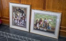 Two Framed And Glazed Nursery Pictures, But Showing Trddy Bears, Titlrd The Bookshelf And