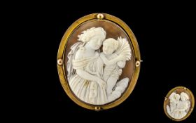 Victorian Period - 9ct Gold Mounted Large and Impressive Oval Shaped Shell Cameo, Depicting Well