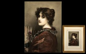 A Hand Coloured Etching of a Spanish Lady engraved by John Miller and signed by Fildes 1902.