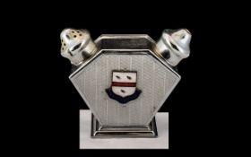 Chrome Art Deco Salt and Pepper Set, good Deco shape, Reg. No. to base