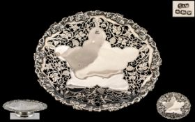 A Superb 1930's Sterling Silver Openwork Pedestal Bowl for Fruit with Cast Silver Border,