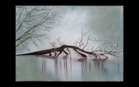 Wall Art Unframed Modern Print on Canvas - by an Iranian artist. 39 1/2 inches width x 28 inches