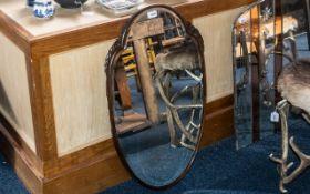 Shield Shaped Art Deco Wall Mirror, 31'' x 18''.