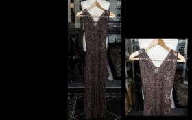 Genuine Vintage Ladies Evening Dress circa 1930s/40s, in dark brown lace, darts over the hips to