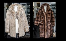 Coney Cream Fur Coat with leather trim, slit pockets, fully lined in patterned fabric, collar and