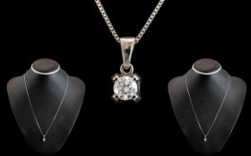 18ct White Gold - Attractive Single Stone Diamond Stud Pendant Attached to a 18ct White Gold