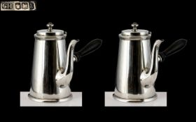George V - A Superb Pair of Sterling Silver Chocolate Pots of Wonderful Proportions and